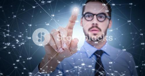 Composite image of businessman with glasses pointing something
