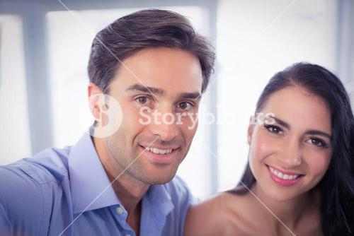 Portrait of couple in cafe