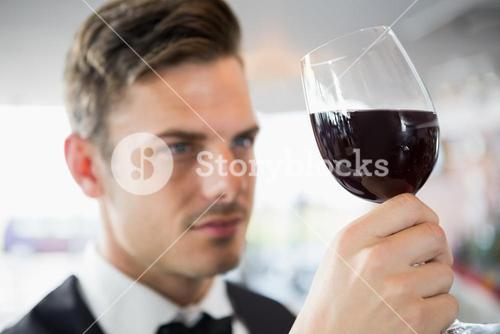 Waiter looking at a glass of wine