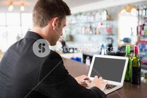 Businessman using laptop in restaurant