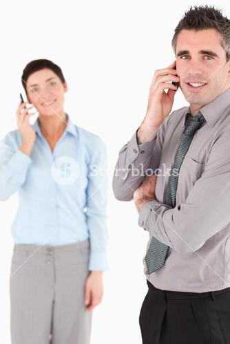 Portrait of a business people making a phone call