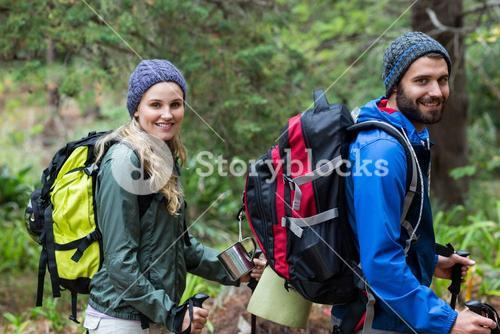 Portrait of hiker couple at countryside