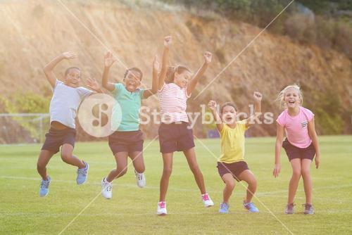 School kids having fun in playground