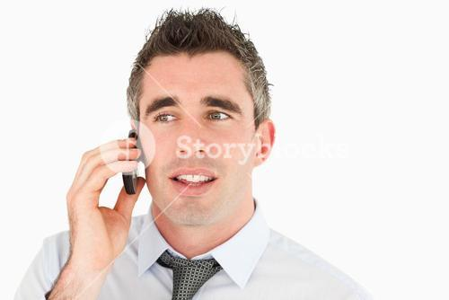 Close up of a businessman making a phone call