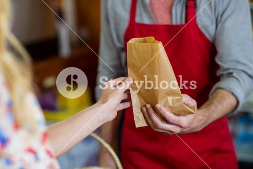 Mid section of male staff giving the paper bag to woman