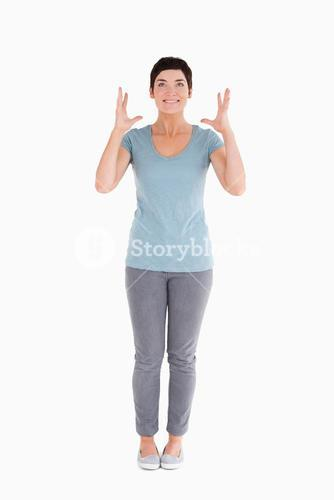 Excited woman standing up