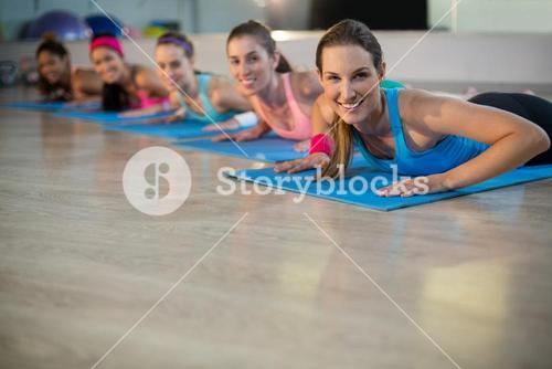 Group of women exercising