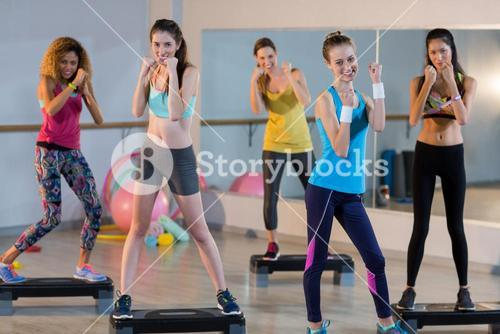 Group of women posing on aerobic stepper