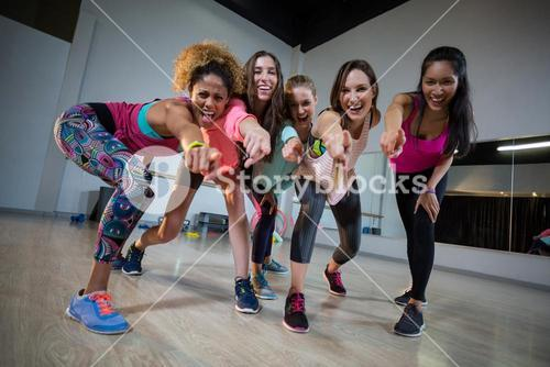 Group of women excited while exercising