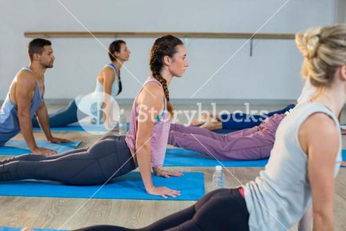 Group of people performing yoga