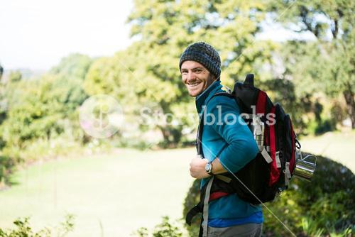 Male hiker in forest