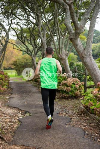 Jogger jogging in park
