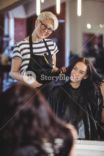 Hairdresser working on the client