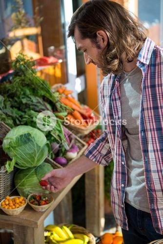 Man buying fruits and vegetables