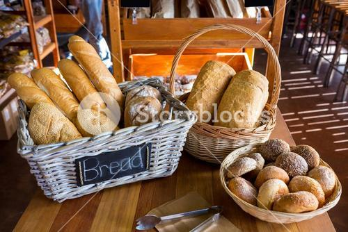Various breads on display counter