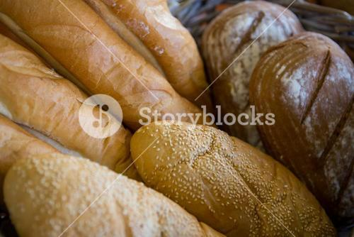 Close-up of various breads in basket