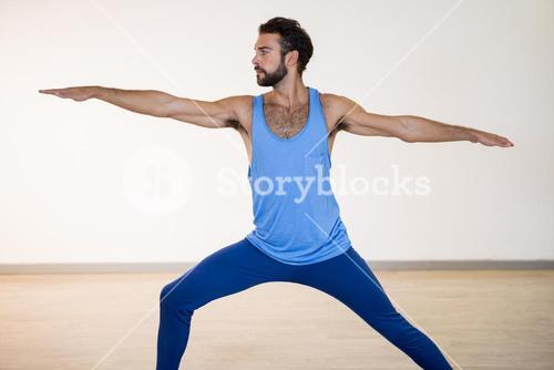 Man performing warrior pose