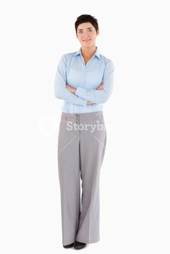 Smiling businesswoman standing up
