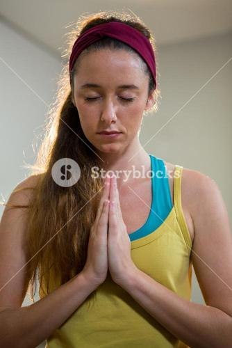 Woman in sukhasana position