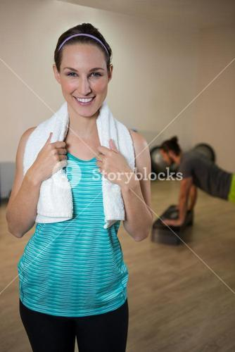 Portrait of smiling woman with napkin