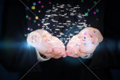 Composite image of close up of hand of a businessman