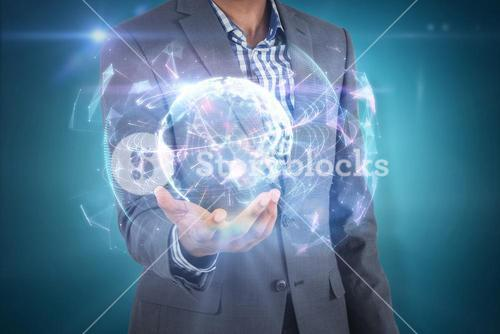 Composite image of businessman holding hand out