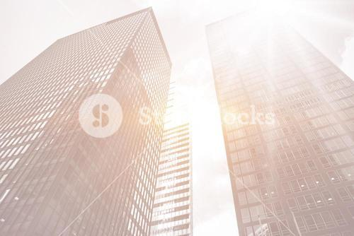 skyscrapers with bright light