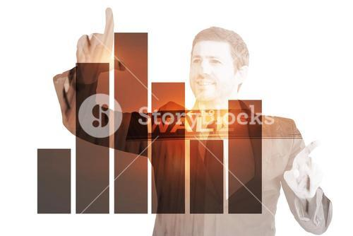 Composite image of happy businessman pointing with fingers