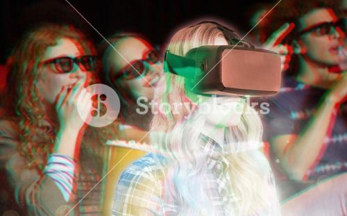 Composite image of pretty casual worker using oculus rift