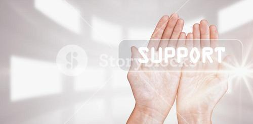Composite image of hands presenting