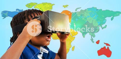 Composite image of profile view of little boy holding virtual glasses