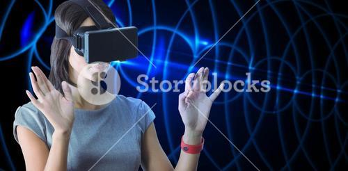 Composite image of businesswoman holding virtual glasses on a white background