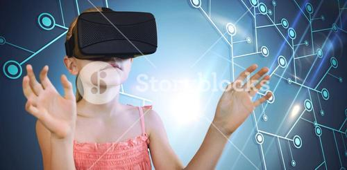 Composite image of little girl holding virtual glasses