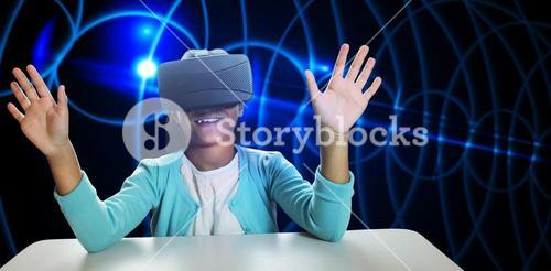 Composite image of black girl with virtual reality glasses
