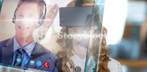 Composite image of screen of a video call