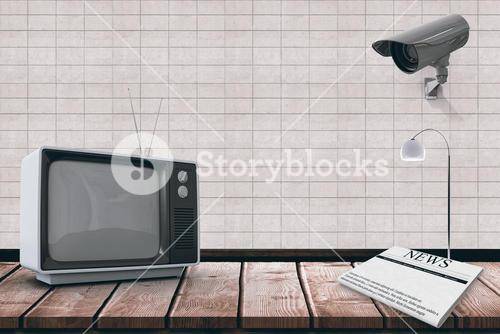 Composite image of an old tv