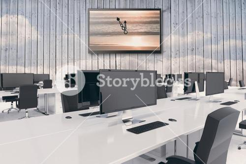 Composite image of desks in a open space