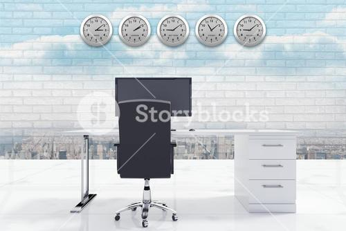 Composite image of desk with a computer