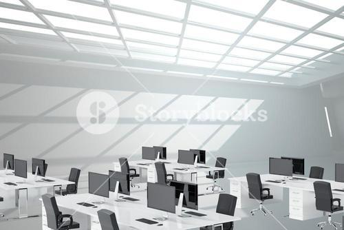 Open space with black computers