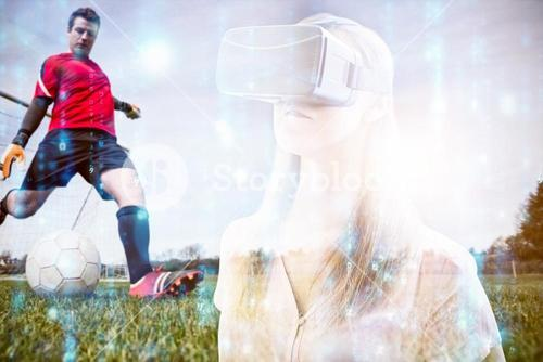 Composite image of woman using an oculus