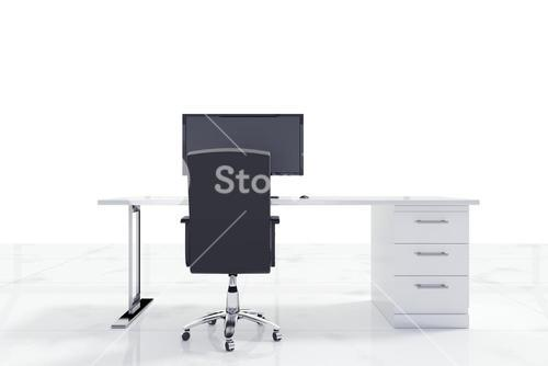 Desk with a computer