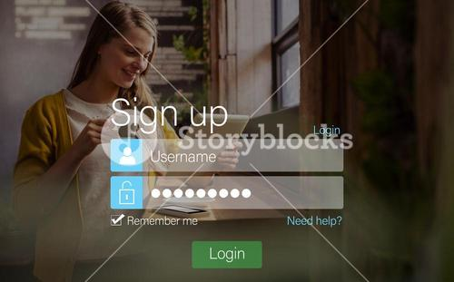 signup screen with blonde girl and pad
