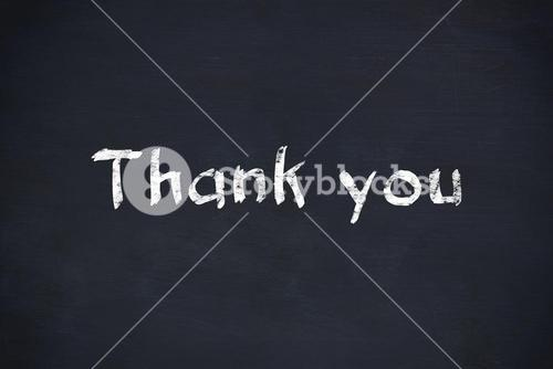 thank you text on black background