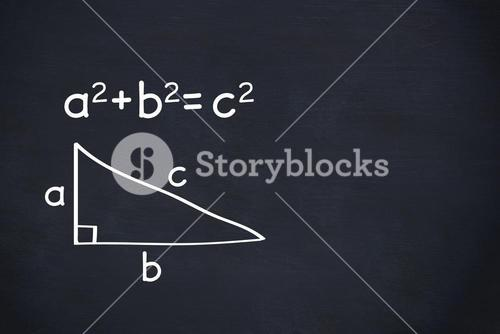 Pythagoras theorem on chalkboard background