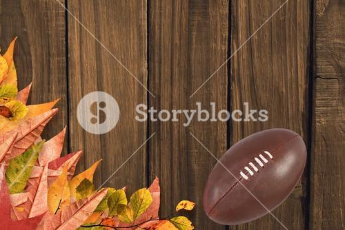 American football on wooden boards