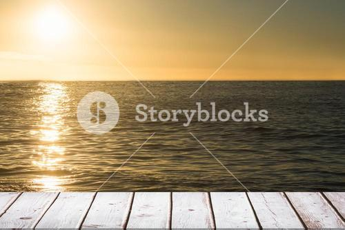 wooden boards with sea background