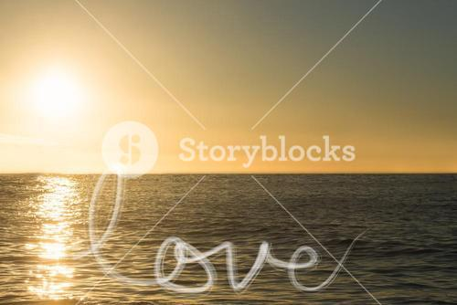 text love on sea background