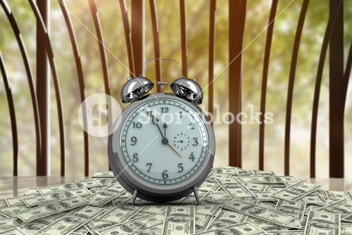 clock on cash stack with forest background