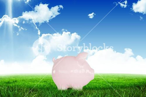 piggy bank on green field with blue sky background
