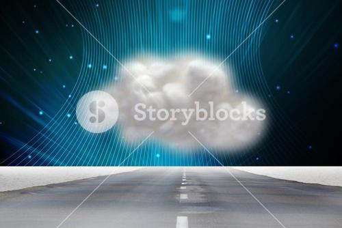 road with cloud and technology background